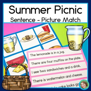Summer Picnic Sentence Picture Match Reading Center