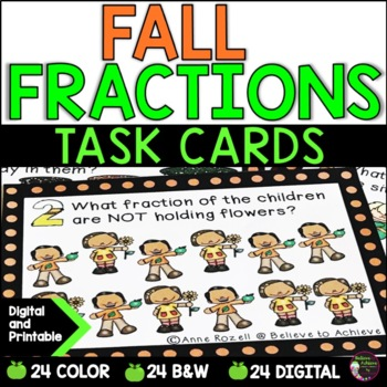 Fraction Task Cards (Parts of a Set- Fall)