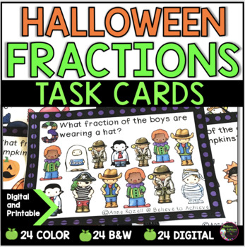 Fraction Task Cards (Parts of a Set- Halloween)