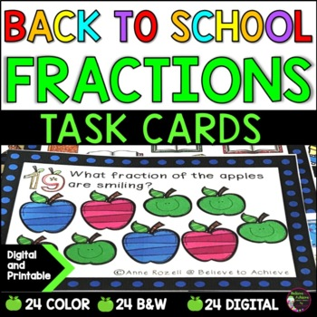 Fraction Task Cards (Parts of a Set)- Back to School