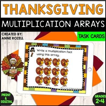 Multiplication Array Task Cards- Thanksgiving