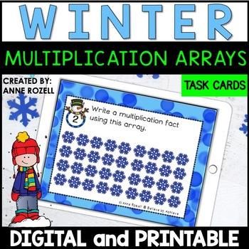 Multiplication Array Task Cards- Winter Theme