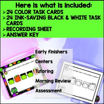 Pattern Task Cards -(Halloween Theme) FREE