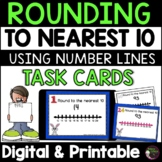 Rounding to nearest 10 (using Number lines) Task Cards