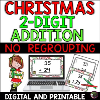 Two-Digit Addition NO regrouping task cards (Christmas theme)