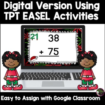 Two-Digit Addition WITH regrouping task cards (Christmas theme)