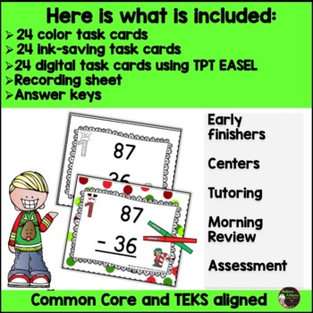 Two Digit Subtraction NO regrouping (Christmas)