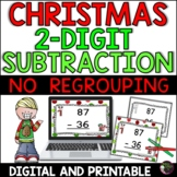 2-Digit Subtraction NO regrouping (Christmas)