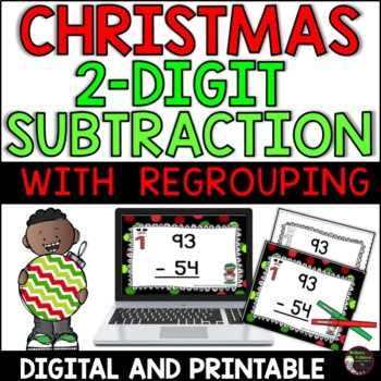 Two-Digit Subtraction WITH regrouping (Christmas)