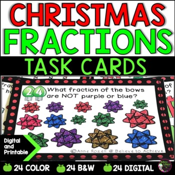 Fraction Task Cards (Parts of a Set) Christmas
