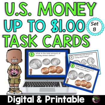 Counting Coins up to $1.00 (U.S. Money) Task Cards