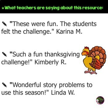 Word problems- Thanksgiving theme (24 Task cards)