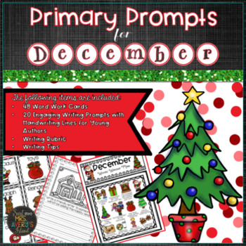 December PRIMARY Writing Prompts and Word Work