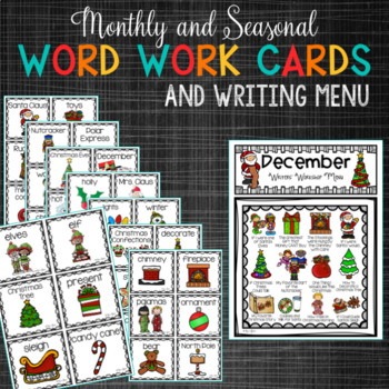 December PRIMARY Writing Prompts | Christmas Writing Prompts and Word Work