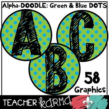 Alphabet Clipart: Alpha-Doodle * Green & Blue Dots