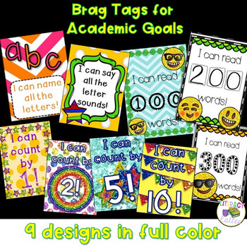 Brag Tags for Academic Goals {letters, sight words and counting}