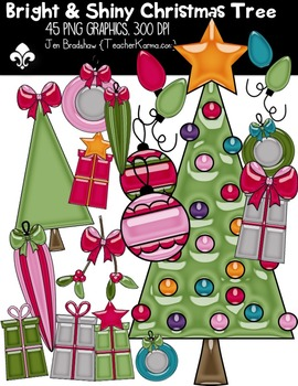 Bright & Shiny CHRISTMAS TREE Clipart ~ Commercial OK ~ Winter