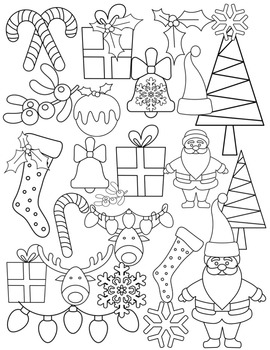 Bright & Shiny SANTA Christmas Clipart ~ Commercial OK ~ Winter