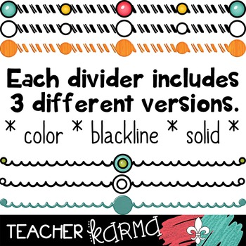 Dividers #6 (pink, teal, green, yellow & orange)