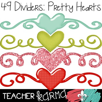 Dividers: Pretty Hearts ~ Commercial OK ~ Valentine's Day