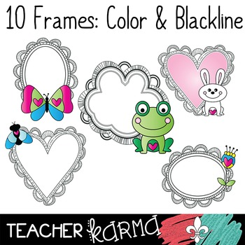 Frog & Friends Clipart & Frames ~ Animals ~ Flowers ~ Insects