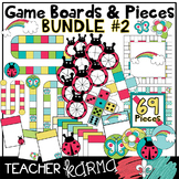 Game Boards & Pieces  BUNDLE #2, Clipart, Rainbow