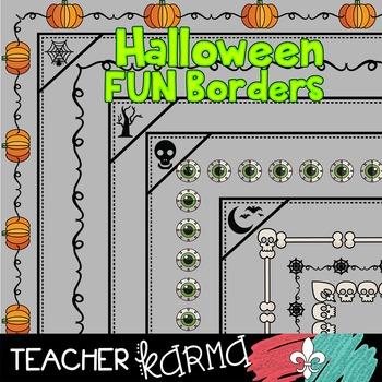 Halloween FUN Borders * Pumpkins * Spooky Trees * Moon * Bats