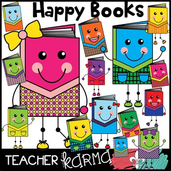Happy Books Reading Clipart
