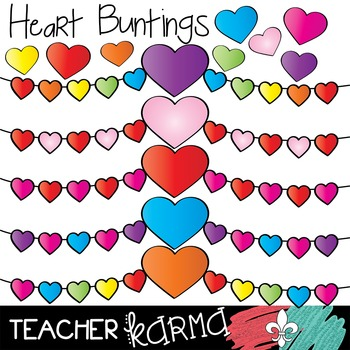 Heart Buntings Clipart ~ Banners ~ Valentine's ~ Commercial OK