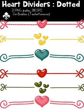 Heart Dividers: Dotted Clipart, Valentine's Day