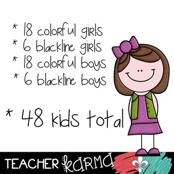 Kids Clipart BUNDLE #1  ~ Students ~ Commercial OK