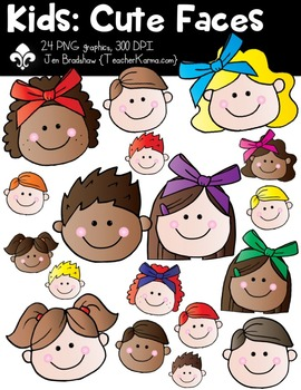 Kids: Cute Faces Clipart ~ Commercial Use OK ~ Students