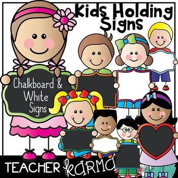 Kids Holding Chalkboard & Whiteboard Signs