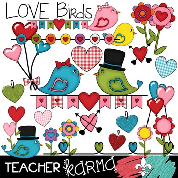 LOVE Birds Clipart ~ Valentine's Day ~ Commercial OK