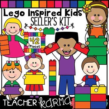 Lego Inspired Kids Clipart, Seller's Kit