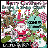Merry Christmas Clipart - Bright & Shiny Style **FREE FRAMES