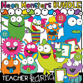 NEON Monsters Clipart BUNDLE &  Seller's Kit