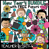 New Year's Clipart BUNDLE with FREE Digital Papers
