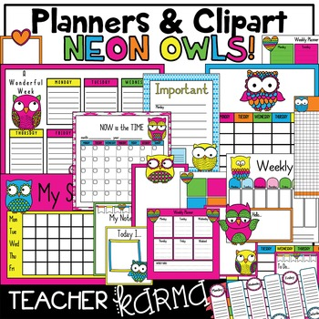 OWL Neon Planners * Calendars * Schedules * Clipart KIT