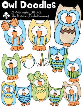 Owl Doodles Clipart ~ Commercial Use OK ~ Animals
