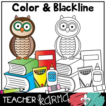 Owls: Back to School Clipart with School Supplies