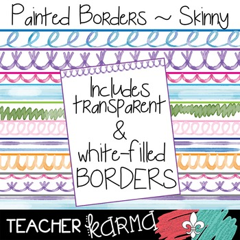 Painted Borders Skinny Clipart ~ Watercolor ~ Commercial Use OK