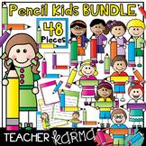 Pencil Kids WRITING Clipart BUNDLE * Seller's KIT