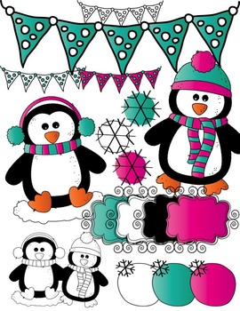 Penguins Seller's Kit Clipart ~ Commercial Use OK ~ Winter