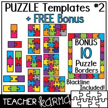 Puzzle Templates #2 Clipart * FREE BONUS!!