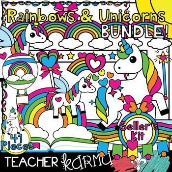 Rainbows & Unicorn NEON Clipart BUNDLE * Seller's Kit *