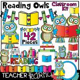 Reading Owls & Books Clipart * Classroom Kit * BUNDLE