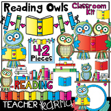 Reading Owls & Books Clipart * Classroom Kit * BUNDLE
