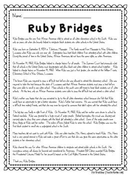 Ruby Bridges NO PREP Printables ~ Black History Month
