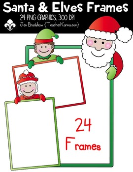 Santa & Elves Christmas Frames Clipart ~ Commercial Use OK